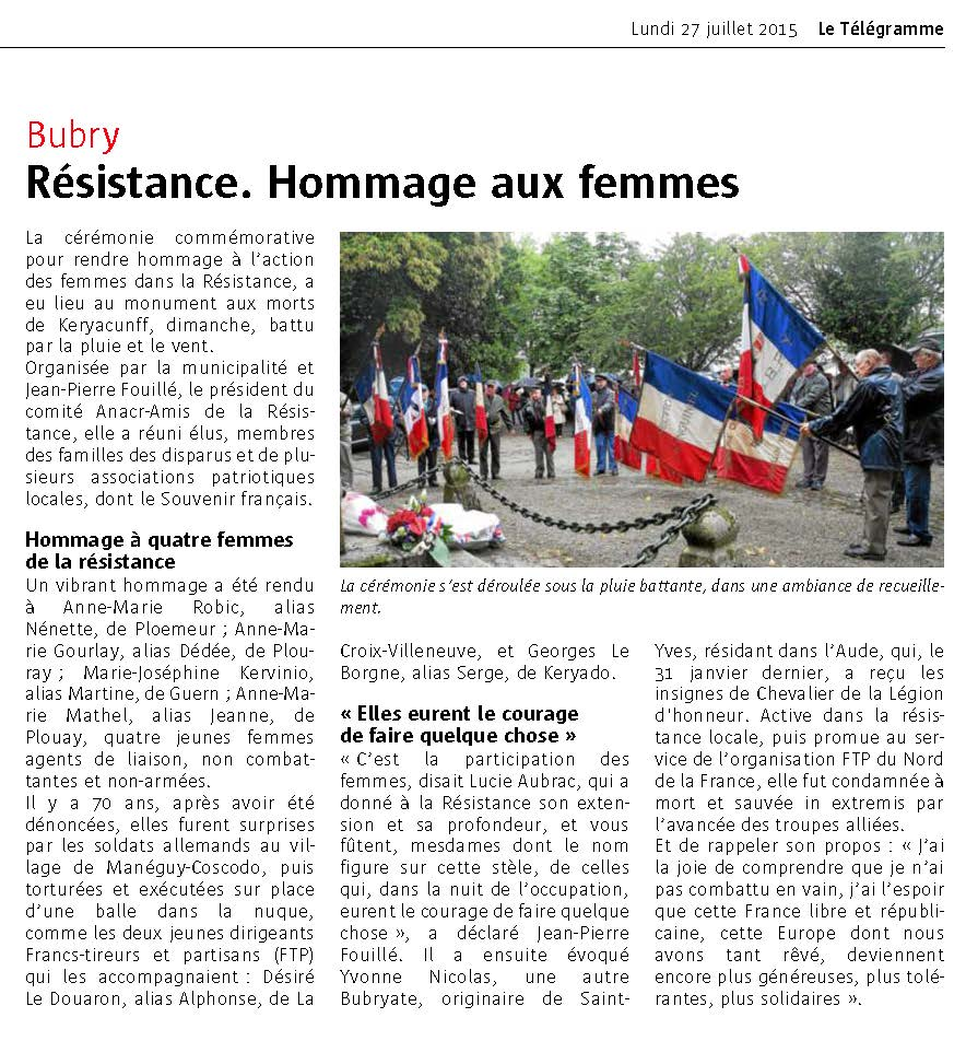 Bubry Hommage aux femmes
